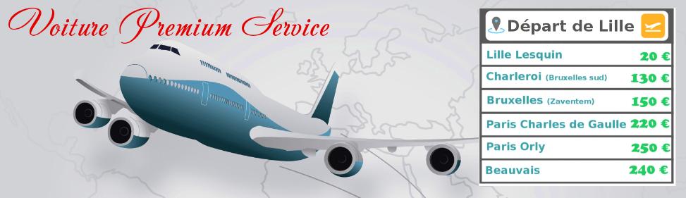 Forfaits navettes aéroports Lille Lesquin, Bruxelles, Charleroi, Paris Roissy Charles de Gaulle et Orly